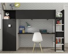 Lit mezzanine TOBIE - Armoire et bureau intégrés - 90x200cm - Blanc et anthracite