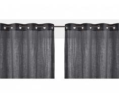 Lot de 2 rideaux à oeillets FIGUIERA - 100% lin - 140x260cm - gris anthracite