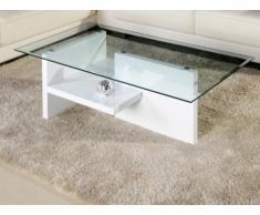 Table basse MAURANE II - Verre trempé et MDF laqué blanc