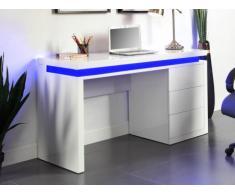 Bureau EMERSON - 3 tiroirs - MDF laqué blanc - LEDs