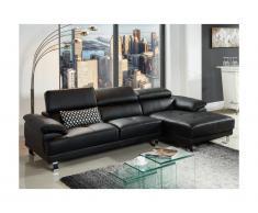Canapé d'angle en cuir EXCELSIOR II - Noir - Angle droit