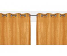 Lot de 2 rideaux à oeillets FIGUIERA - 100% lin - 140x260cm - Jaune moutarde