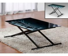 Table relevable Up & Down MIDNIGHT - 4 couverts - Verre trempé