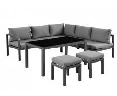 Salon de jardin d'angle NAZCA en aluminium: canapé d'angle relevable 5 places, 2 tabourets et une table
