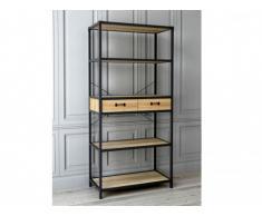 Bibliothèque DISTRICT - 3 étagères & 2 tiroirs - Coloris : Chêne