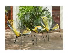 Salon de jardin ALIOS II en fils de résine tressés - Jaune, gris, noir: 2 chaises et une table