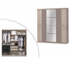 Armoire avec miroir WILHEM - 6 portes - L.203cm - Taupe