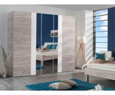 Armoire DARENA - 5 portes dont 1 porte miroir - L223 cm - Beige et Blanc