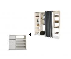 Ensemble dressing + meuble de rangement EMERIC - Blanc & Anthracite