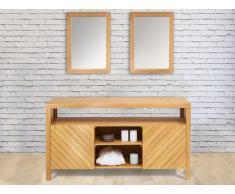 Ensemble de salle de bain Meuble en bois teck 150cm TIKOVO + 2 miroirs TIKOVO