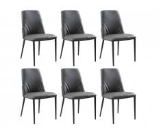 Lot de 6 chaises COLBY - Simili - Gris