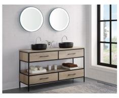 Ensemble salle de bain PLUNA - meuble sous vasque + double vasque + miroir - effet bois