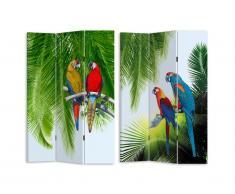 Paravent imprimé 3 pans perroquets PERRO - 120 x 180 cm