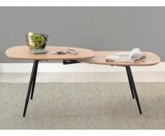 Table basse DENISE - Double plateau - MDF & Acier - Coloris : Chêne & Noir