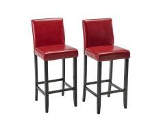 Lot de 2 tabourets de bar ROVIGO - Simili rouge brillant