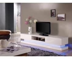 Meuble TV FIRMAMENT - MDF laqué blanc - LEDs - 2 tiroirs & 1 niche