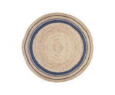 Tapis rond BHOPAL - 100% Jute - D. 150 cm - Naturel et bleu