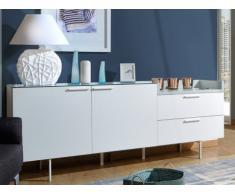 Buffet ANGELO - 2 portes & 2 tiroirs - avec plateau en verre - Blanc laqué