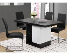 Table à manger EWEN avec LEDs - 6 couverts - MDF laqué - Gris béton & blanc