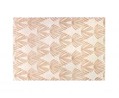 Tapis art déco LYSA - 160 x 230 cm - beige et lurex doré