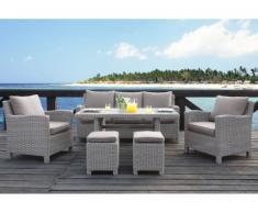 Salon jardin OLINDA résine beige clair : canapé, 2 fauteuils, 2 tabourets, table à manger