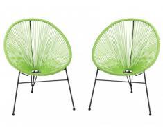 Lot de 2 chaises de jardin ALIOS II en fils de résine tressés - anis