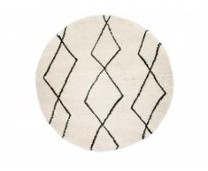 Tapis rond style berbère LUSO - 100% Polypropylène - D.200 cm - Ecru et noir
