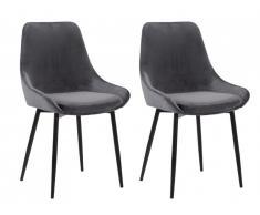 Lot de 2 chaises MASURIE - Velours - Gris
