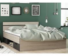 Lit GASPARD avec tiroirs - 140x190cm - Coloris : Chêne et Anthracite
