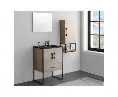 Ensemble salle de bain PHENA - meuble sous vasque + vasque + miroir + meuble haut - effet bois