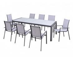 Salle à manger de jardin SAMAXI en aluminium - une table extensible 180/240cm + 8 fauteuils - Assise blanche