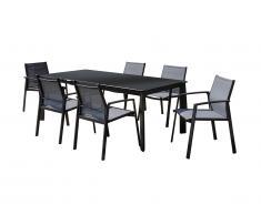 Salle à manger de jardin PALAOS en aluminium - Table extensible 140/200cm + 6 fauteuils - Anthracite