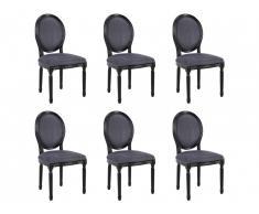 Lot de 6 chaises LOUIS XVI - Velours gris