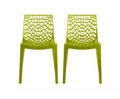 Lot de 2 chaises empilables DIADEME - Polypropylène - Vert anis