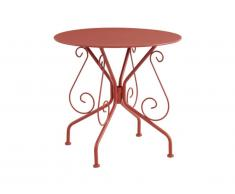 Table de jardin en métal façon fer forgé GUERMANTES - Terracotta