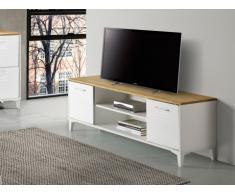 Meuble TV SEATTLE - 2 portes & 2 niches - MDF - Coloris : Blanc et chêne