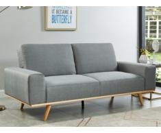 Canapé convertible clic-clac 3 places en tissu RAPHAEL - Gris clair avec couture bleue