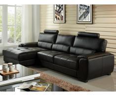 Canapé d'angle en cuir METROPOLITAN II - Noir - Angle gauche