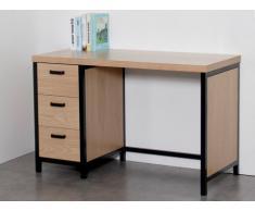 Bureau MORANA avec rangements - 3 tiroirs - MDF & métal - Coloris chêne