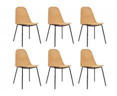 Lot de 6 chaises KOSI - Rotin & métal