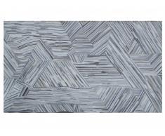 Tapis poil ras MATIAS - 100% cuir - 140 x 200 cm - Gris