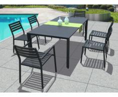 Salle à manger de jardin en aluminium RINJANI anthracite : une table et 6 fauteuils