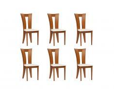 Lot de 6 chaises TIFFANY - Hêtre massif - Coloris : Chêne et blanc