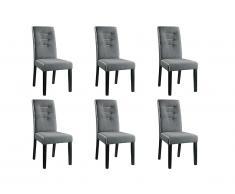 Lot de 6 chaises GABELLE - Tissu & pieds hévéa - Gris