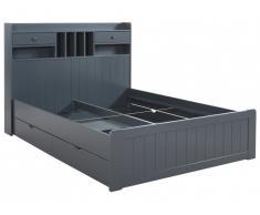 Lit MEDERICK avec rangements - 140x190cm - Pin gris