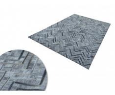 Tapis poils ras NOURA - Cuir et viscose - 140 x 200 cm - Gris