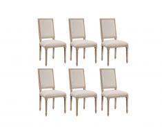 Lot de 6 chaises AMBOISE - Tissu & Bois de Chêne - Beige