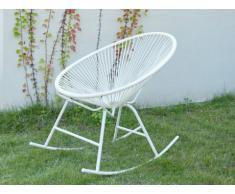Chaise à bascule de jardin ALIOS II en fils de résine tressés - Blanc