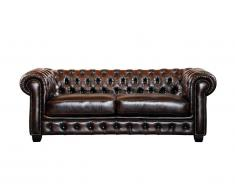 Canapé chesterfield 3 places BRENTON 100% cuir de buffle - Chocolat reflets châtains
