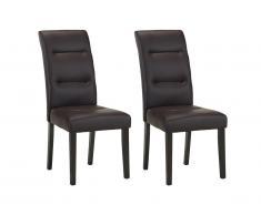 Lot de 2 chaises TADDEO - Synderme chocolat - Pieds bois